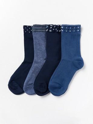 4 paria sukkia, kuvioidut varret Sininen