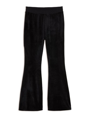 Flared Velour Trousers Black