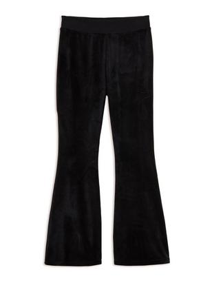 Flared Velour Trousers Black