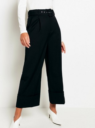 High-waist Trousers with Belt Black