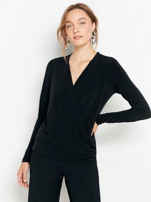 Draped Jersey Top Black