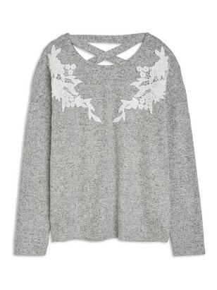 Top with Lace Appliqués Grey