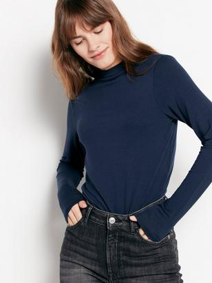 Long Sleeved Top in Tencel® Blend Blue