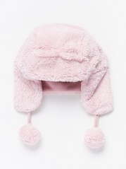 Pink Fake Fur Cap  Pink