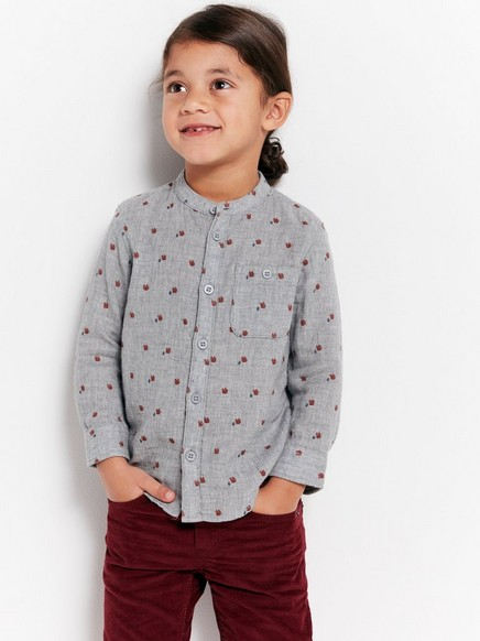 Patterned Collarless Cotton Shirt Grey