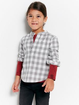 Checked Collarless Shirt Grey