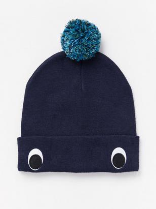 Knitted Cap with Pom Poms Blue
