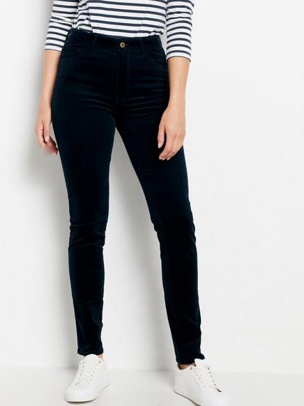 Smal VERA-bukse i kordfløyel med høy midje Blå