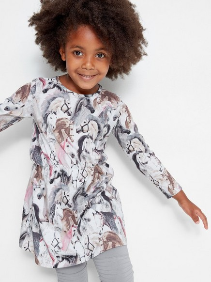 Jersey Dress with Horse Print White