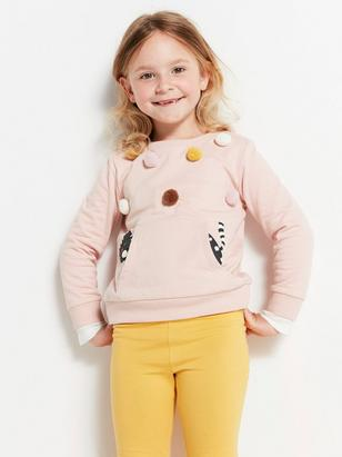 Sweatshirt with Pompoms Pink