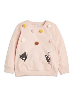 Sweatshirt with Pompoms Pink