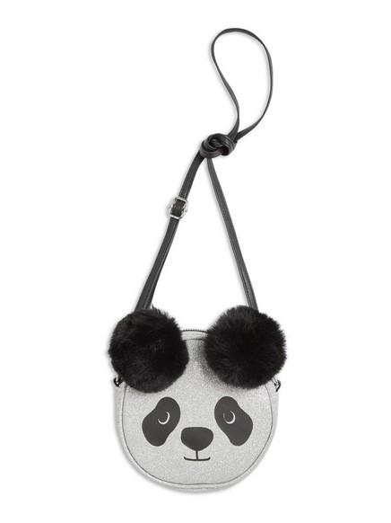Kabelka ve tvaru pandy se třpytkami Černá