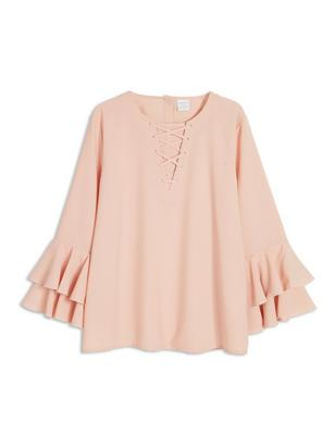 Blouse with Flounce Sleeves Pink