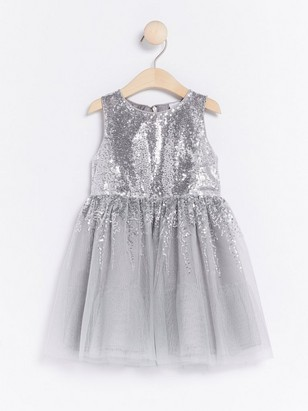 Tulle Dress with Sequins Grey