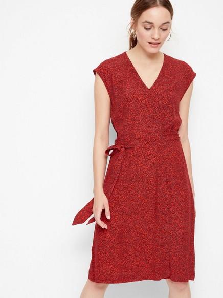 Kjole i mønstret viskose Rød