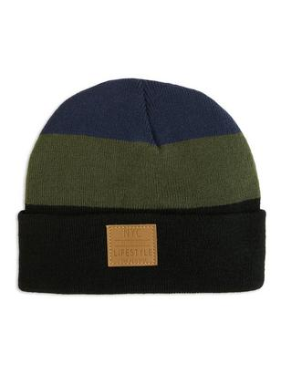 Knitted Cap with Appliqué Green