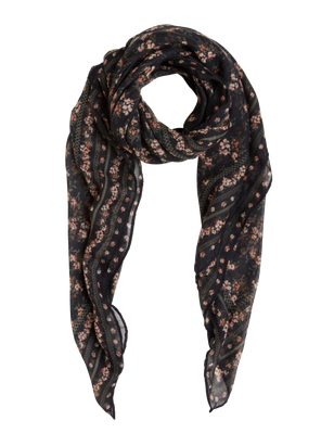 Woven Floral Scarf Black
