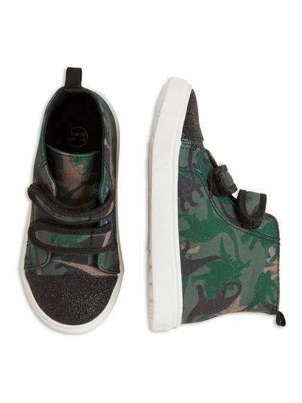 Mönstrad skor med glitter Grön