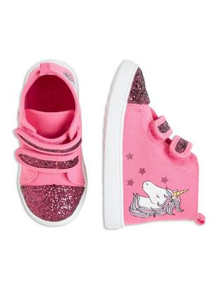 Shoes with Glitter and Print Pink