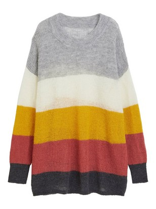 Striped Sweater in Wool Blend White