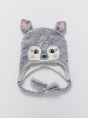 Knitted Cap with Ears Grey