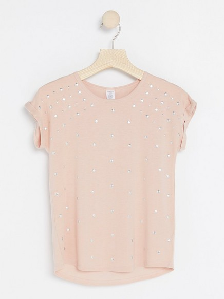 Short Sleeve Top with Studs Pink
