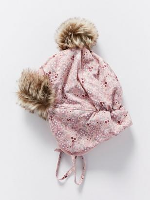 Patterned Cap with Fake Fur Pink