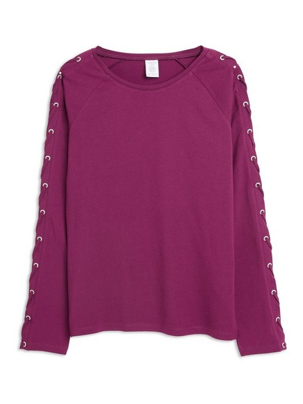 Top with Lacing on Sleeves Lilac
