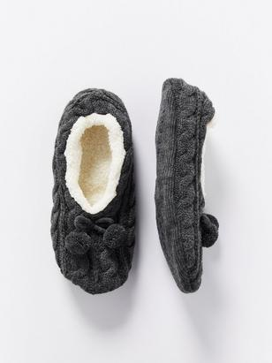 Cable-knit Slippers Grey