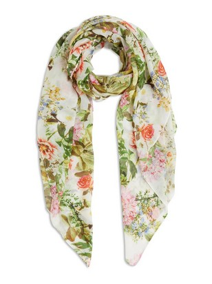 Floral Scarf White
