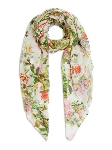 Květovaný šátek Bílá