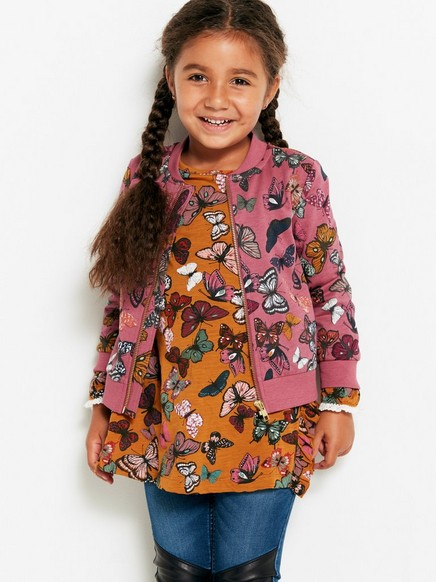 Soft Bomber Jacket with Butterflies Pink