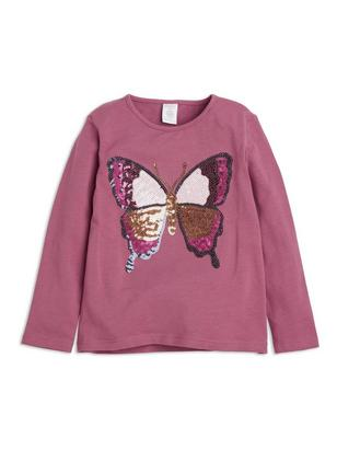 Top with Sequin Butterfly Pink