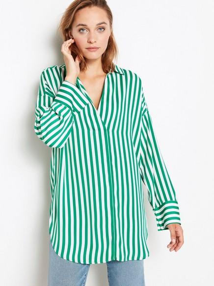 Lang stripet bluse Grønn