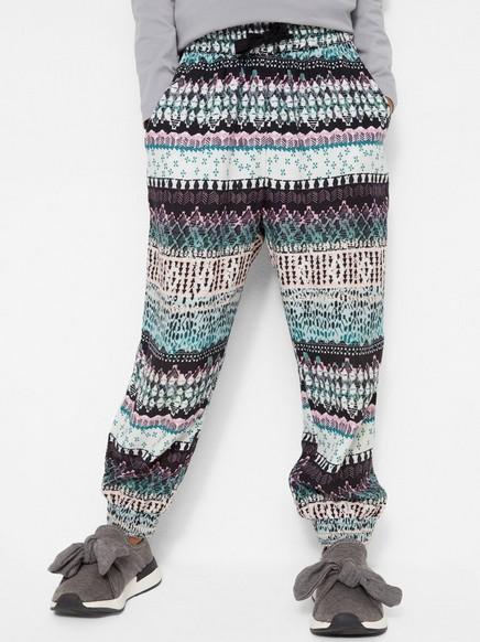 Vzorované viskózové kalhoty Tyrkysová