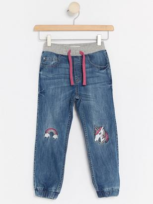 Lined Loose Jeans Blue