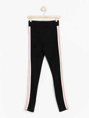 Black leggings with side stripes Pink
