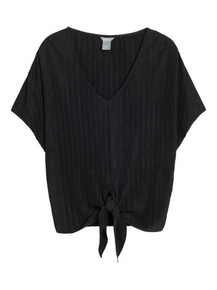 Pleated Top with Tie Band Black