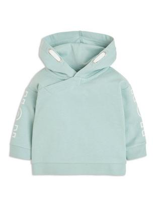Hooded Sweater with Print Aqua