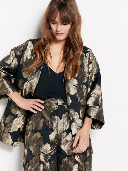 Brokadikuvioitu kimono Musta