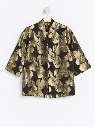Brocade Pattern Kimono Black