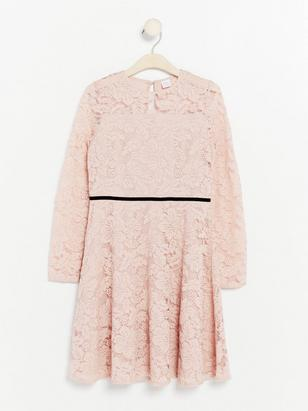 Long Sleeve Lace Dress Pink