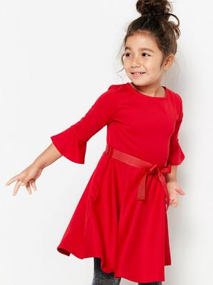 Jersey Dress with Flounce Sleeves Red