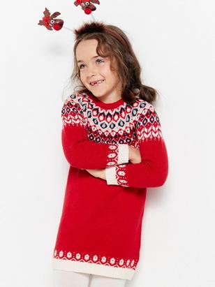 Knitted Fairisle Dress Red