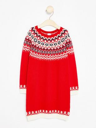 Knitted Fairisle Dress Red