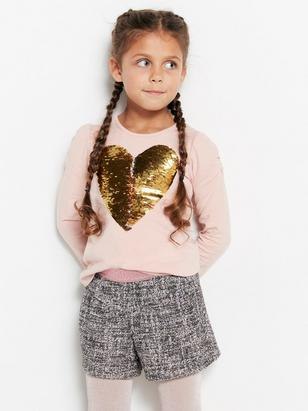 Textured Shorts with Glitter threads Pink