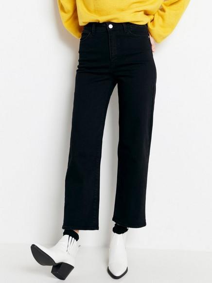 Avkortede jeans med høyt liv Svart