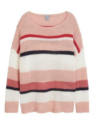 Stripete, strikket genser Grå