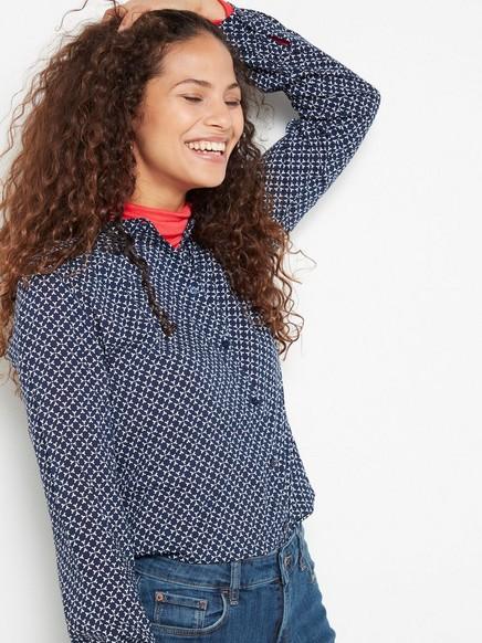 Bluse i mønstret viskose Blå