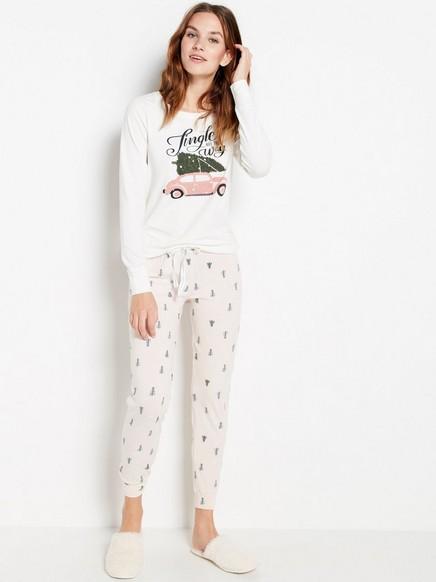 Pyjamasetti, jossa painatus Vaaleanpunainen